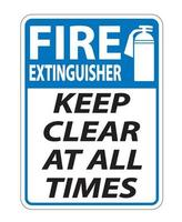 Fire Extinguisher Keep Clear Sign on white background vector