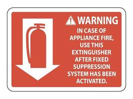 Warning In Case of Appliance Fire Sign on white background vector