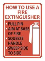 How To Use Fire Extinguisher Sign on white background vector