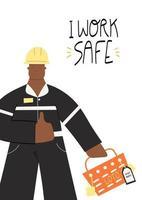 trabajo seguro cartel con trabajador industrial vector