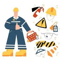 Factory industrial Worker with with safety equipment clipart vector