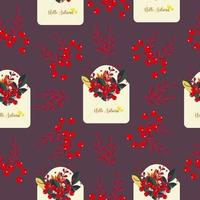 Seamless pattern with envelopes and flowers, The envelope is open with a love message inside, letter for love message, cute floral print for wrapping and fabric, vector print for different holidays.