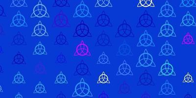 textura de vector azul claro, rojo con símbolos religiosos.
