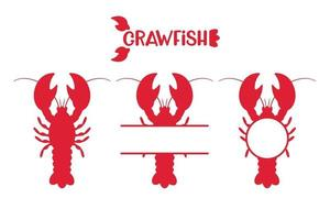 Red lobsters or crawfish set vector