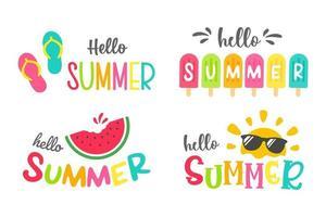 Hello summer labels set vector