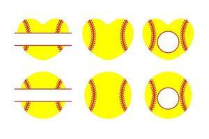 conjunto de béisbol amarillo en forma de corazón vector