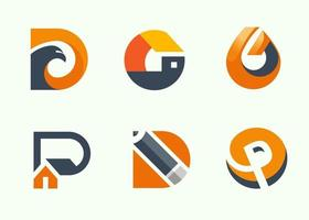 Abstract business modern logo icons collection vector