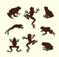 Collection of vector frogs silhouette