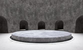 Minimal circular product podium in an empty room