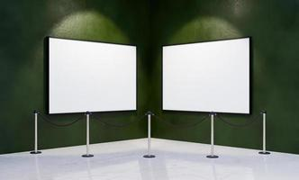 Mockup of frames in the corner of a museum photo