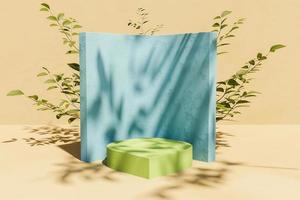 Stand for product display with back vegetation and leaf shade, 3d rendering photo