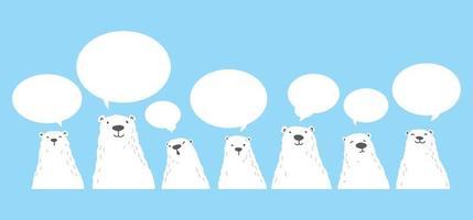 conjunto de dibujos animados de personaje de ilustración de burbuja de discurso de oso polar vector