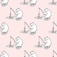 oso polar, pesca, seamless, patrón vector