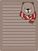 oso con bufanda plantilla de papel de cuaderno vector