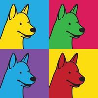 dog outline retro colorful squares set vector