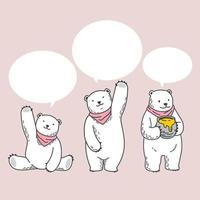 conjunto de caracteres de dibujos animados de ilustración de bufanda de burbuja de discurso de oso polar vector