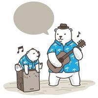 Polar bears playing music cartoon vector