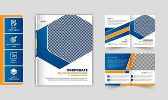 Creative professional corporate business bi-fold brochure template. vector