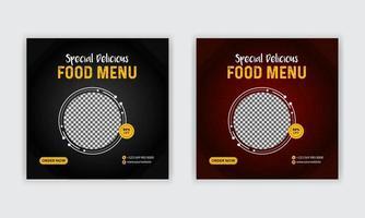 Plantillas de publicaciones de redes sociales de menú de comida para marketing digital, marketing empresarial, banner web, diseño de carteles. vector