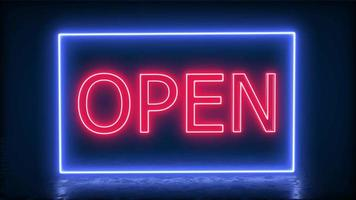 Open Neon Banner Background With Reflection 4K