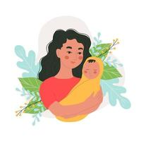 Woman holding a small baby in her arms, Happy motherhood, Vector characters in doodle style, Colored doodles.