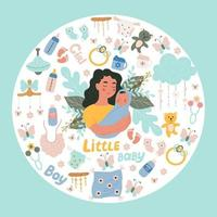 Woman holding a small baby in her arms a set of items for newborns, vector objects in doodle style, colored doodles.