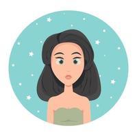 Avatar de mujer joven con corte de pelo cuadrado de pelo corto y grandes ojos verdes, ilustración vectorial de estilo plano. vector