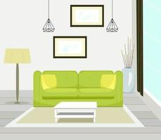 Interior of modern living room with sofa furniture, table, floor lamp, large window, wall painting, vector illustration in flat style.