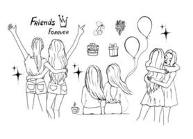 Female friendship concept, set of girls friends in different poses, doodle style. vector
