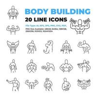 Bodybuilder character icon set vector