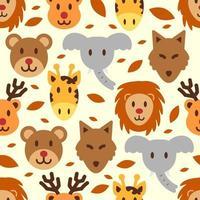 lindo, animal salvaje, seamless, patrón vector
