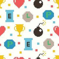 cute 8 bit game seamless pattern vector