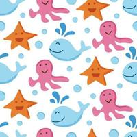 cute sea animal seamless pattern vector