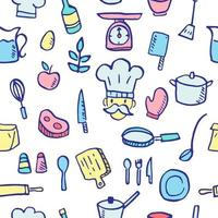 cooking doodle seamless pattern vector