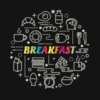 breakfast colorful gradient lettering with icons set vector