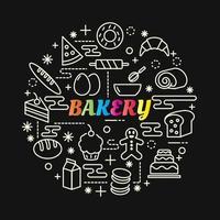 panadería, colorido, gradiente, letras, con, iconos, conjunto