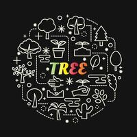 tree colorful gradient lettering with icons set vector