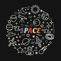 espacio degradado colorido letras con conjunto de iconos vector