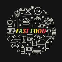 fast food colorful gradient lettering with icon set vector