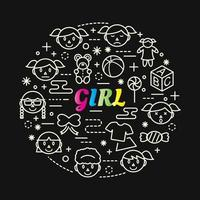 Letras de degradado colorido de niña con conjunto de iconos vector