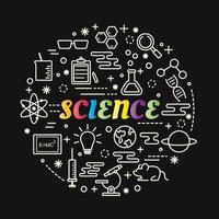 Letras de gradiente colorido de ciencia con conjunto de iconos vector