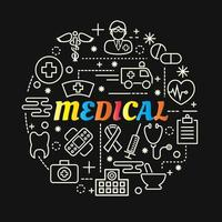 medical colorful gradient lettering with icon set vector