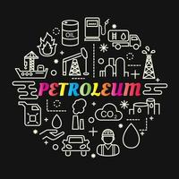 petroleum colorful gradient lettering with icon set vector