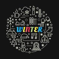 Letras de gradiente de colores de invierno con conjunto de iconos vector