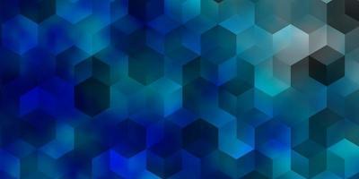 Telón de fondo de vector azul claro con hexágonos.