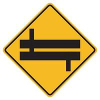 Warning signs Staggered Junction Traffic Road on white background vector