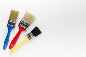 Colourful paint brushes with copy space