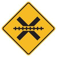 Warning signs Railway Level Crossing on white background vector