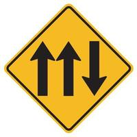 Warning signs Three Lane Traffic Road on white background vector
