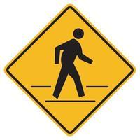 Pedestrian Crossing Warning Road Sign vector